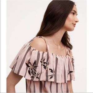 NWT  Loft Tie Shoulder embroidery orchid top -M